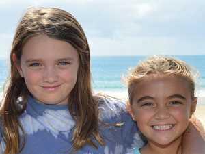 Tia and Brooke Lajara at Mooloolaba Beach for the
