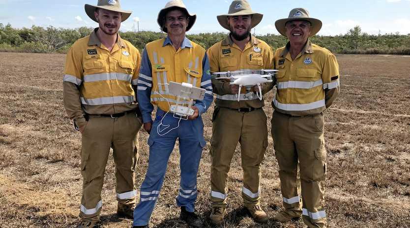 Ergon Energy drone pilots Jake Attwell, Nick Christian, Daniel Cranston and John Mordacz.