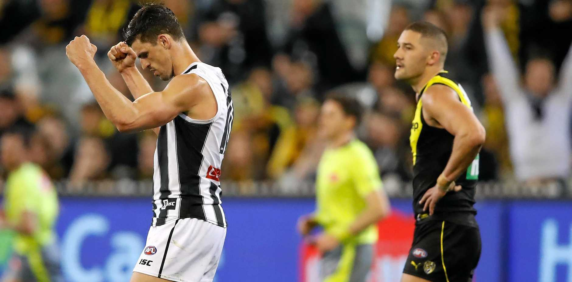 Magpies skipper Scott Pendlebury celebrates as the final siren sounds on Friday night. Picture: Adam Trafford/AFL Media/Getty Images