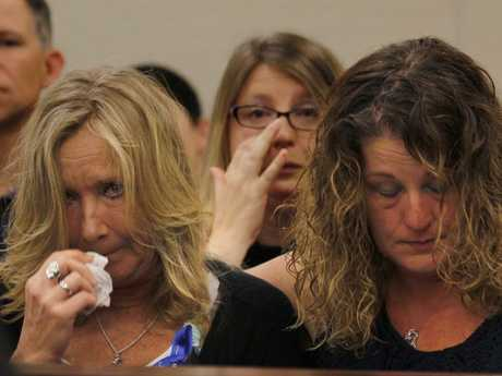 Tammy Weeks, left, mother of murder victim Nicole Lovell, reacts to testimony during the sentencing phase of the Natalie Keepers trail. Picture: AP