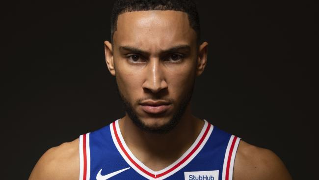 The Philadelphia 76ers' Ben Simmons  poses for a photograph during  the NBA team's media day. Picture: Photo/Chris Szagola