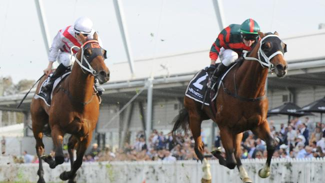Kerrin McEvoy rides The Autumn Sun to the Golden Rose Stakes at Rosehill on Saturday. Picture: Simon Bullard/AAP