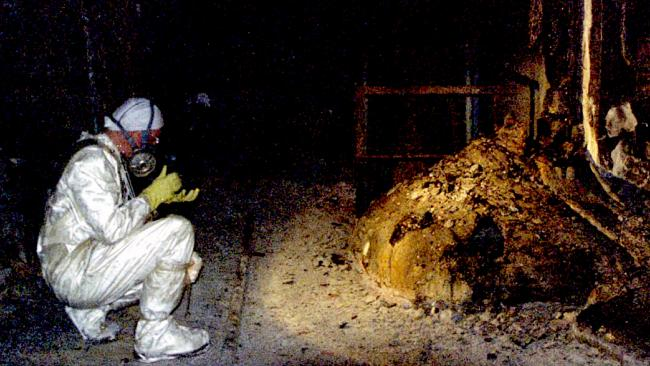 The Elephant's Foot of the Chernobyl disaster. In the immediate aftermath of the meltdown, a few minutes near this object, would bring certain death. Picture: Universal History Archive/UIG/Getty Images