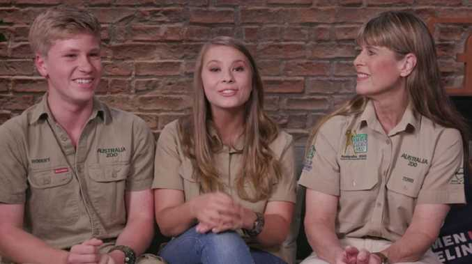 Robert, Bindi and Terri Irwin during a Facebook live Q&A session for Animal Planet. Picture: Animal Planet