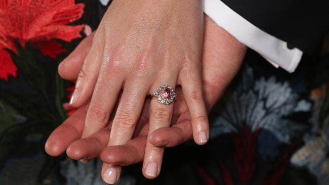 Princess Eugenie and Jack Brooksbank show off her engagement ring in January. Picture: Jonathan Brady/WPA Pool/Getty Images