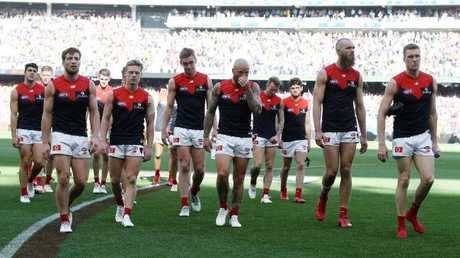 Melbourne players walk off Perth Stadium. Picture: Michael Klein