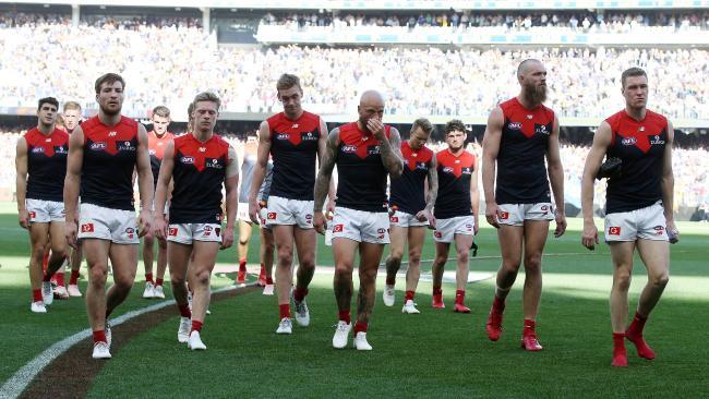 Melbourne players walk off Perth Stadium. Picture: Michael Klein