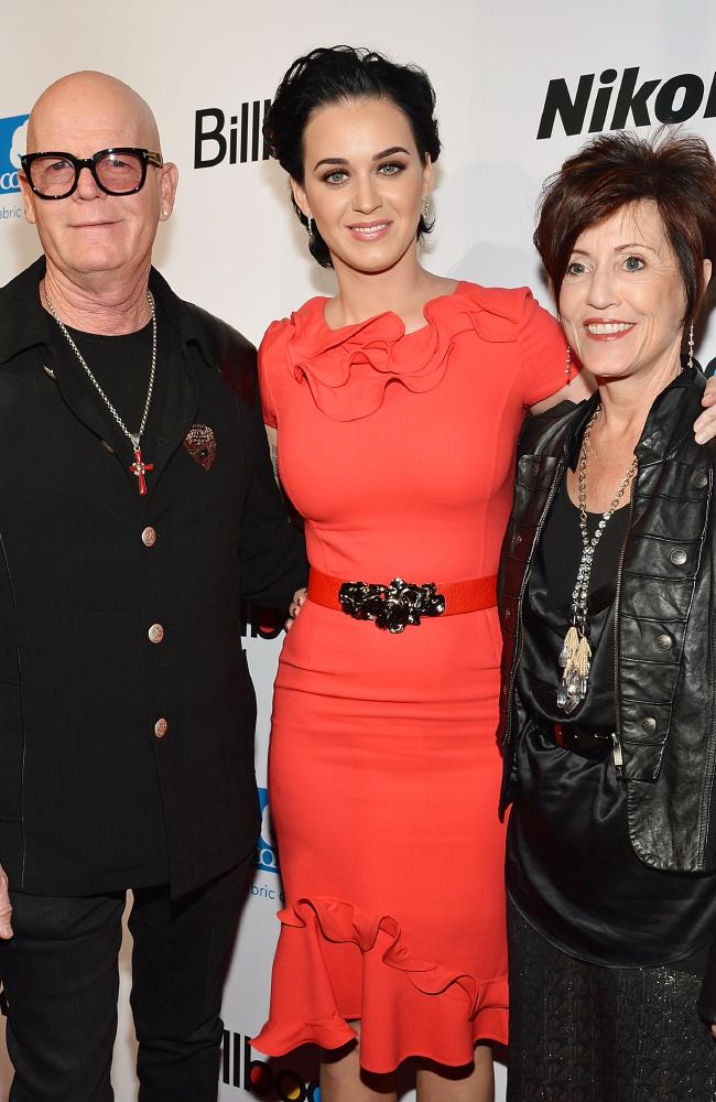 Keith Hudson, singer Katy Perry, and Mary Hudson in New York City in 2012. Picture: Mike Coppola