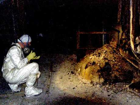 The Elephants Foot of the Chernobyl disaster. In the immediate aftermath of the meltdown, a few minutes near this object, would bring certain death. Picture: Universal History Archive/UIG/Getty Images