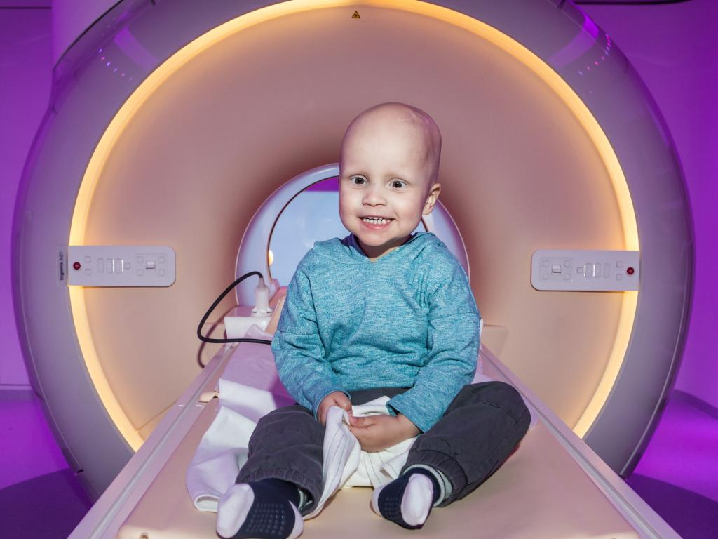 Courtney Weston and Allen Giliam had to relocate interstate so their young son Harvey could receive treatment for brain cancer, including numerous MRI scans. Picture: Sarah Matray