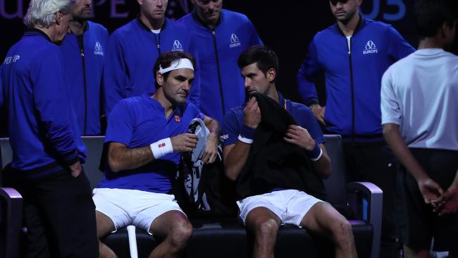 They may not have had chemistry on the court but off the court Roger Federer and Novak Djokovic were chummy. Picture: Matthew Stockman