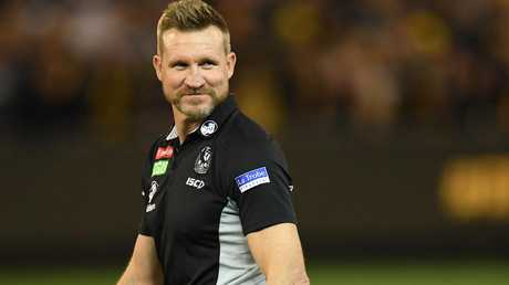 Nathan Buckley had plenty to smile about on Friday night. Picture: AAP