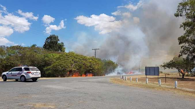 Grass fire on O'Shanesy St, near the bridge, at Gracemere. There are a number of spot fires along the Capricorn Highway/ rail corridor.