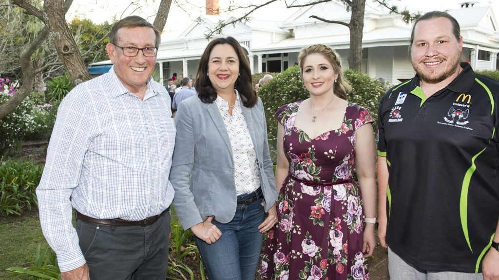 ( From left ) Kerry Shine, Premier Annastacia Palaszczuk, Georgia Soutar and Chris Janetzki. Pre cabinet meeting barbeque for Labor party faithful. Sunday, 23rd Sep, 2018.