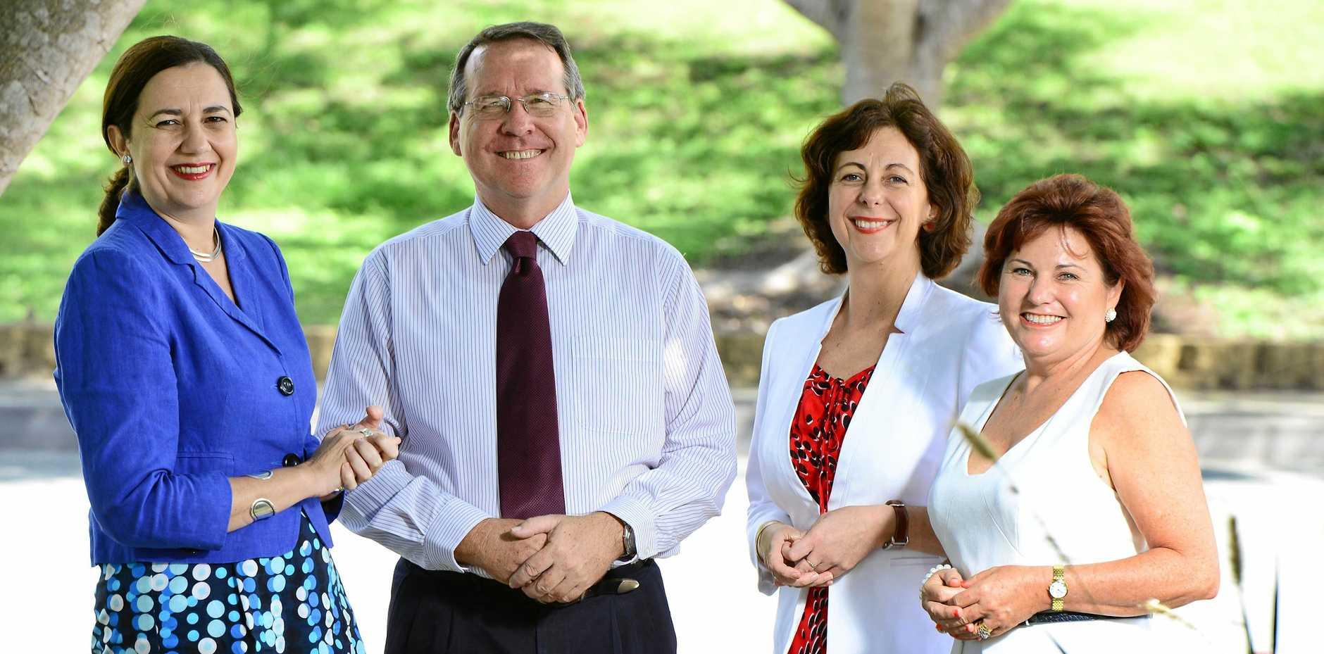 DEBATED: Queensland Premier Annastacia Palaszczuk with Labor MPs Jim Madden, Jennifer Howard and Jo-Ann Miller.