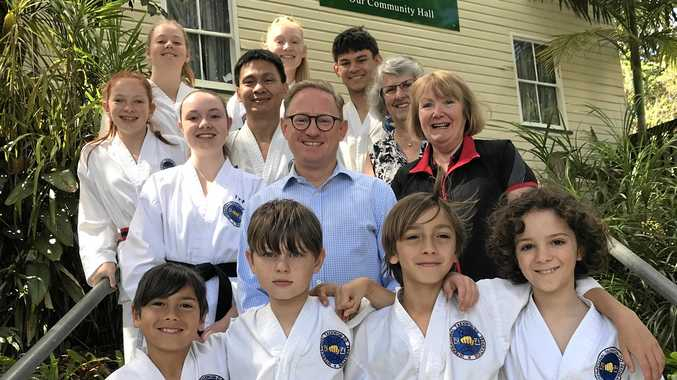 Ben Franklin MLC with Tintenbar Hall Committee Members Sheila Aveling and Jenny Francis alongside members of the Taekwon-do club who train in the Hall