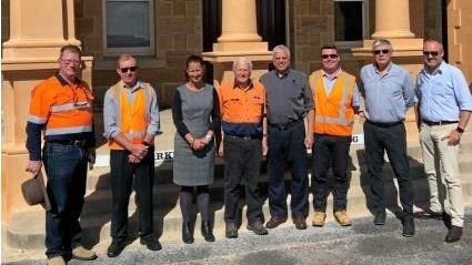 L to R: Kelvin Hutchinson - Southern Downs Steam Railway; Max Johnson - Project Manager, Watco; Deputy Mayor Cr Jo McNally;Peter Gregory - Southern Downs Steam Railway; Rick Webb - Executive Chairman, Watco.