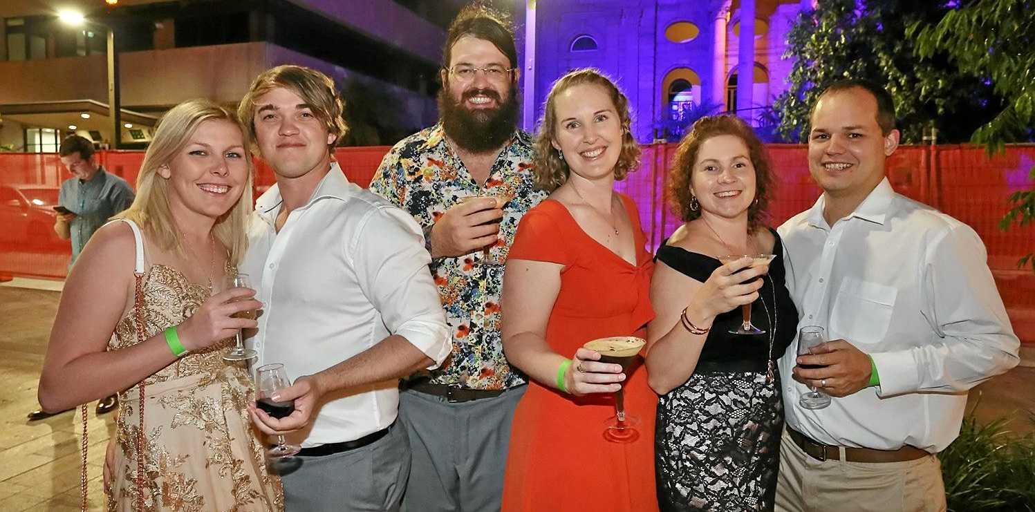 L-R Kayla Kirk, Adrian Kirk, Simon Kirk, Emma Kirk, Olivia Mogg and Jordan Mogg at the Capricorn Food and Wine Festival.