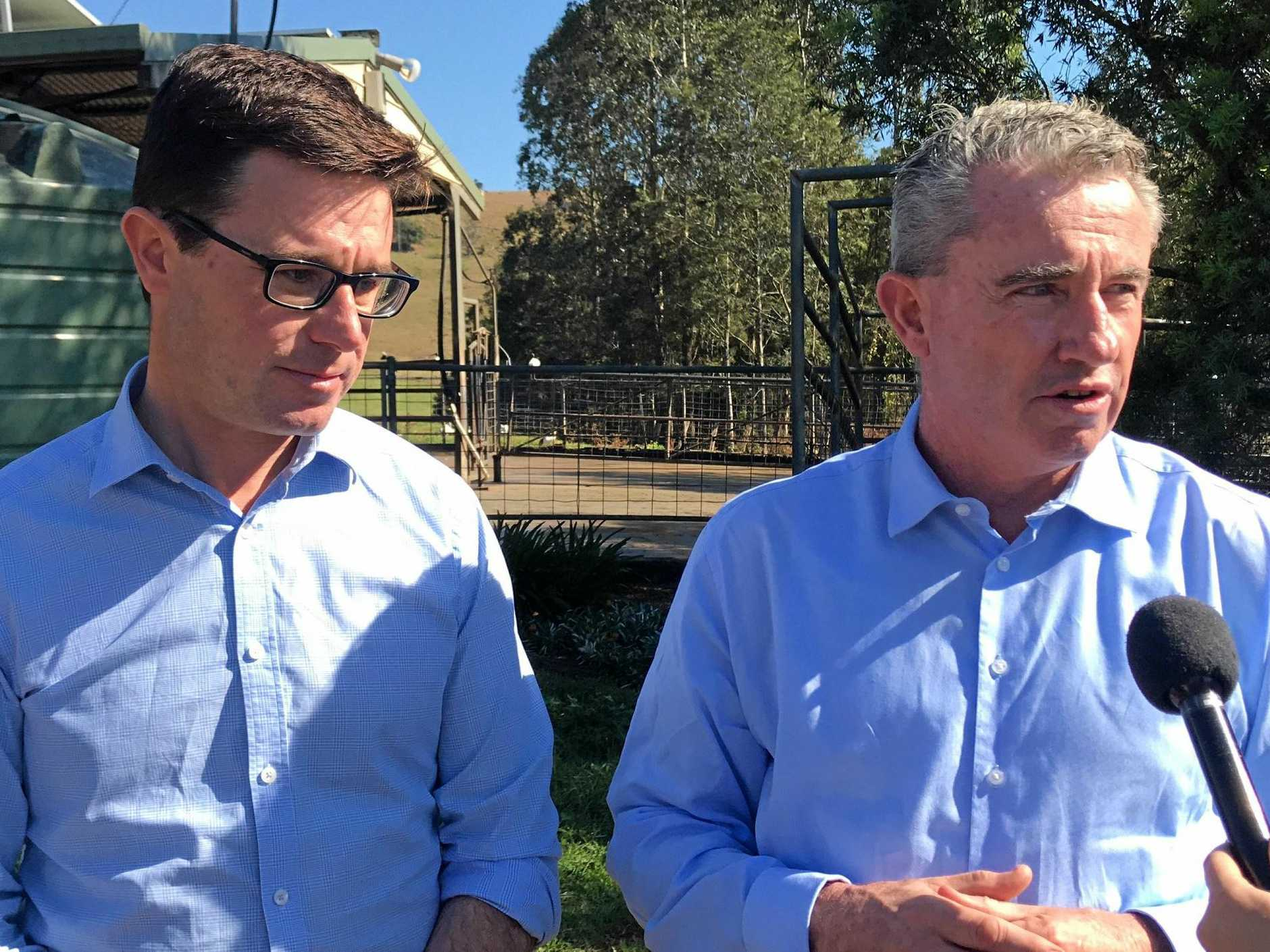 Page MP Kevin Hogan (on right) pictured at a Bexhill dairy farm earlier this month with Minister for Agriculture and Water Resources David Littleproud.