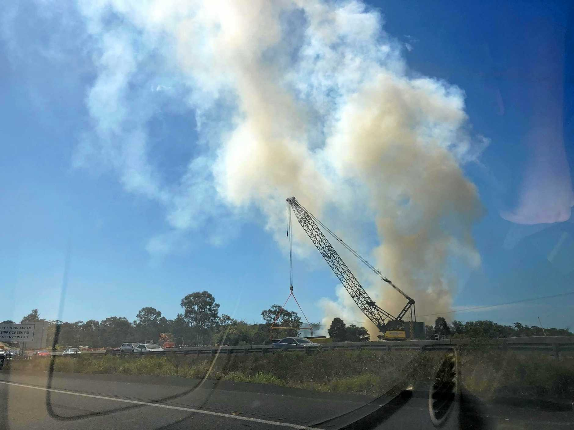 A FIRE at Palmview is causing congestion on the Bruce Highway, motorists are reporting.