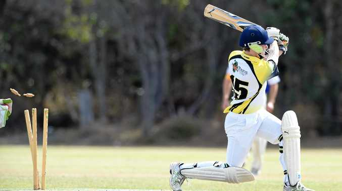 TIGHT: Cavaliers batsman Fraser White's innings comes to an end while (inset) Bushrangers bowler Zubair Khan takes a catch to dismiss Luke McCully.