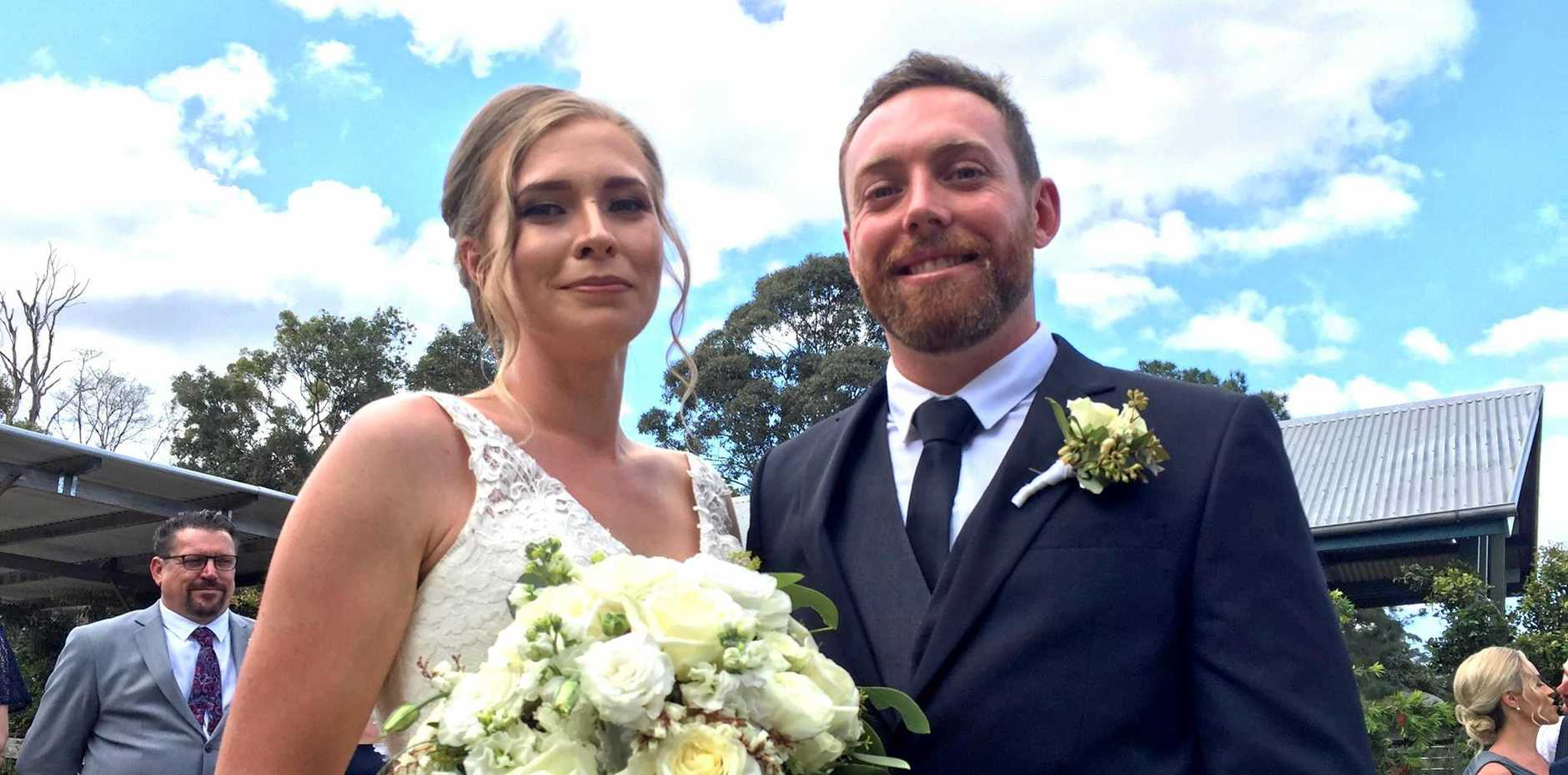 HAPPY DAY: Dean Morcombe married Alice Webb at a ceremony in Mt Mee.
