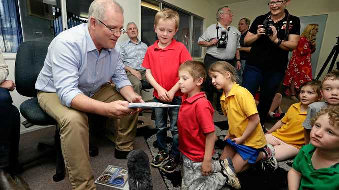 GOOD JOB: Prime Minister Scott Morrison meets with Year 1 students at the Longreach School of Distance Education in Longreach, during a regional tour of Quilpie, in south west Queensland last month. , Monday, August 27, 2018. The Prime Minister