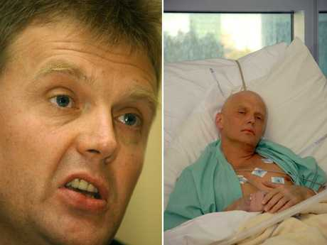 Former Russian spy Alexander Litvinenko pictured at a press conference in 2004 (L) and in hospital in 2006.