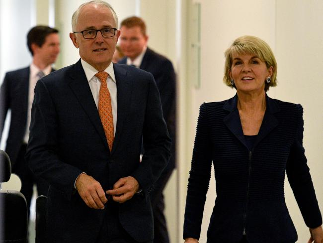 Former Prime Minister Malcolm Turnbull and former deputy leader Julie Bishop leaving the Liberal Party room meeting last month. Picture: AAP/Mick Tsikas
