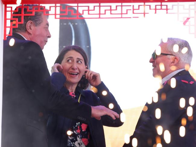 NSW Premier Gladys Berejiklian awkwardly ran into MP Ray Williams at a pre-scheduled appearance at the Cabramatta Moon Festival. Picture: Jonathan Ng