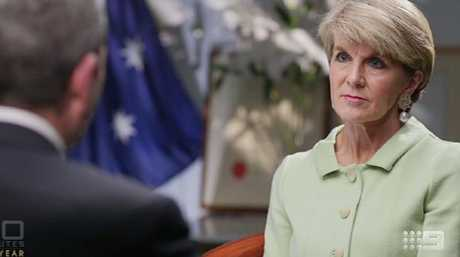 Former foreign minister Julie Bishop speaking to Nine Network journalist Chris Uhlmann during an interview with 60 Minutes. Picture: AAP Image/Nine Network.