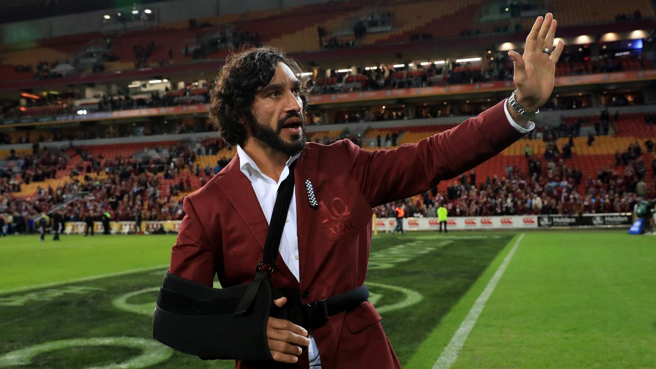 Johnathan Thurston after State of Origin III last year. The rotator cuff injury he suffered in Origin II ended his season. Pics Adam Head