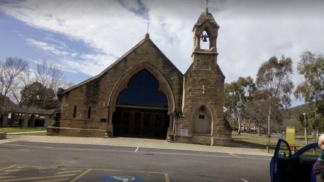 House of abuse: All Saints church Ainslie, ACT where paedophile priest John Aitchison raped Georgie.