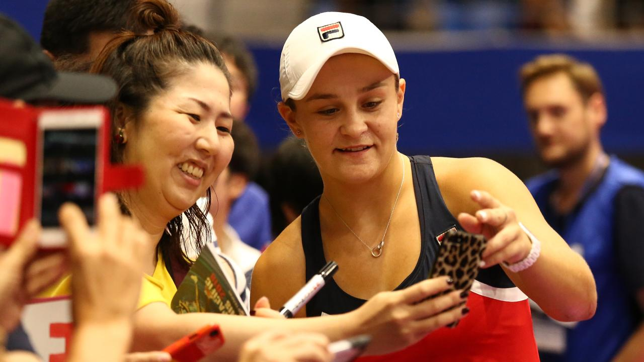 Ashleigh Barty of Australia poses for fans after her victory in her Singles first round match against CoCo Vandaweghe of the United States on day two of the Toray Pan Pacific Open at Arena Tachikawa Tachihi on September 18, 2018 in Tachikawa, Tokyo, Japan. (Photo by Koji Watanabe/Getty Images)