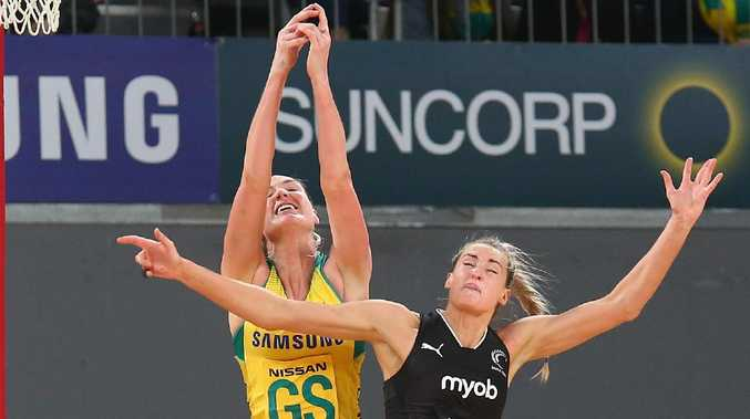 Caitlin Bassett of the Diamonds and Jane Watson of the Silver Ferns compete for the ball. Picture: Getty Images