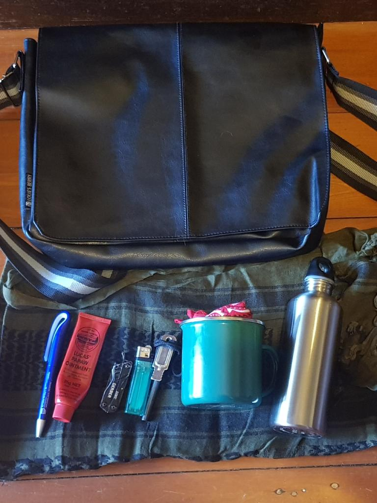 Mathew's 'EDC' or everyday carry bag, containing basic survival tools needed for any situation