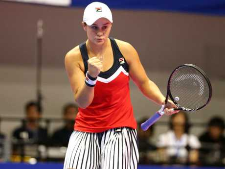 Ashleigh Barty of Australia celebrates a point in her Singles first round match against CoCo Vandaweghe of the United States. Picture: Getty Images