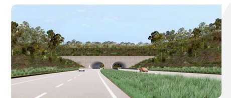 Artist impression of one possible land bridge option at Roberts Hill. This image is indicative only and subject to further refinement