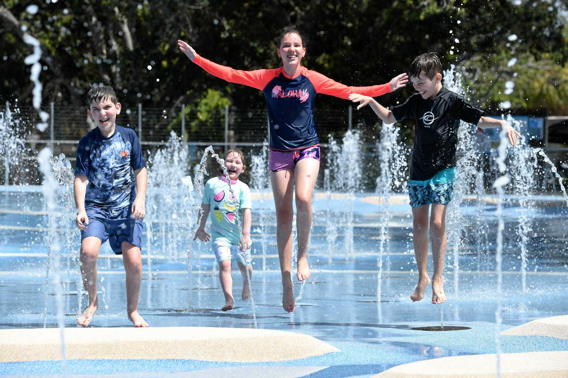 Enjoying the holidays at WetSide are Gympie visitors (L) Riley, Lily, Sophie and Fletcher Lutton.