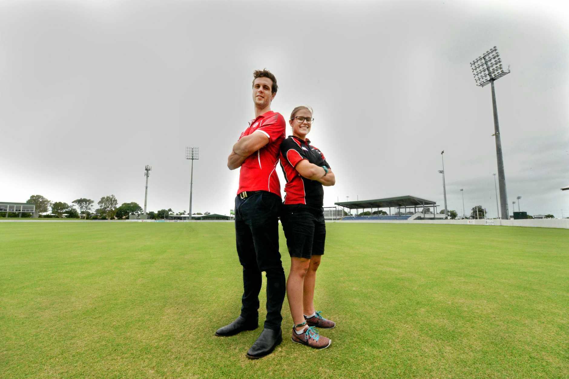 Eastern Swans player-coach George Hannaford and North Mackay Saints captain Rahnee Vaccaneo at Harrup Park.