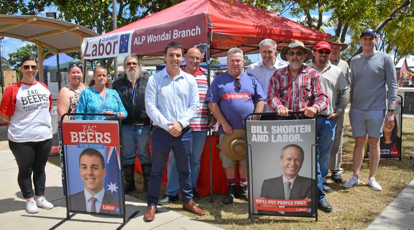 LISTENING TOUR: Queensland Senator Anthony Chisholm and Labor Flynn candidate Zac Beers meet with the ALP Wondai Branch before visiting Wondai residents on Saturday September 22.