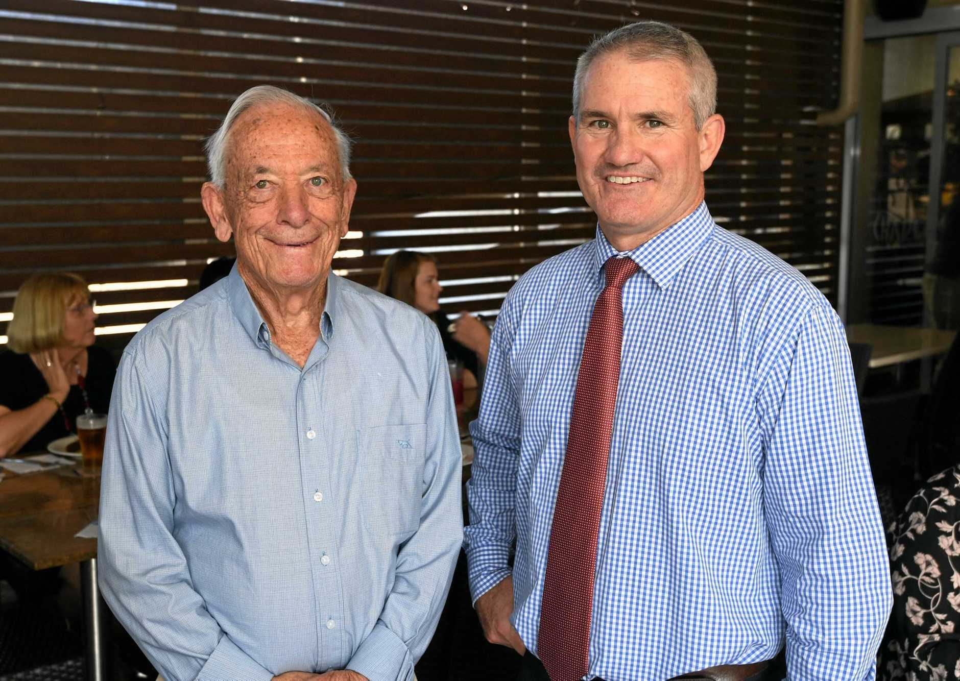 FAMILY PRACTICE: Jack and John Cartwright celebrat e John's 25 years practising law in the Gympie region with Power and Cartwright.