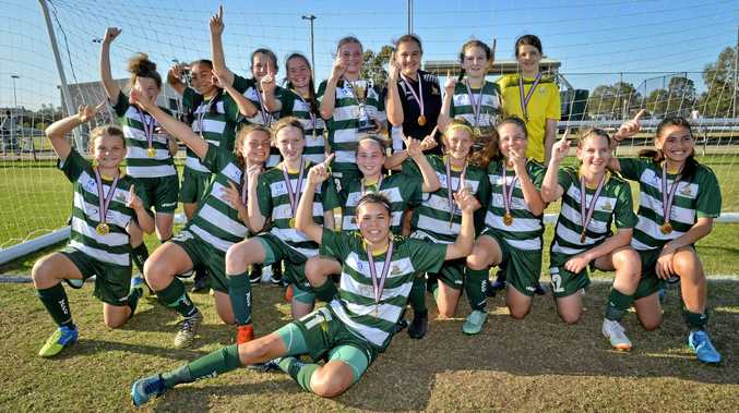 TERRIFIC SEASON: Western Pride's under-13 girls NPL side enjoy their grand final victory over Easts at the Briggs Road Sporting Complex. Pride's 3-2 win completed a fantastic season.