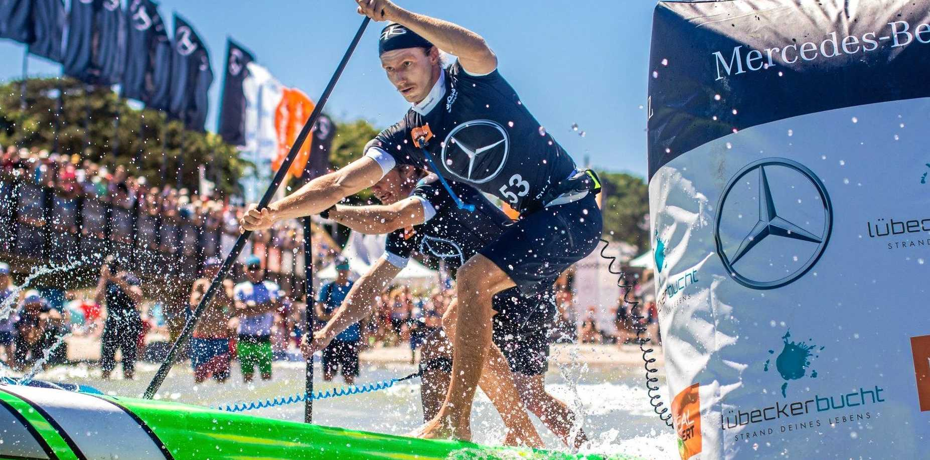 Lincoln Dews in action at the Mercedes-Benz SUP World Cup recently.
