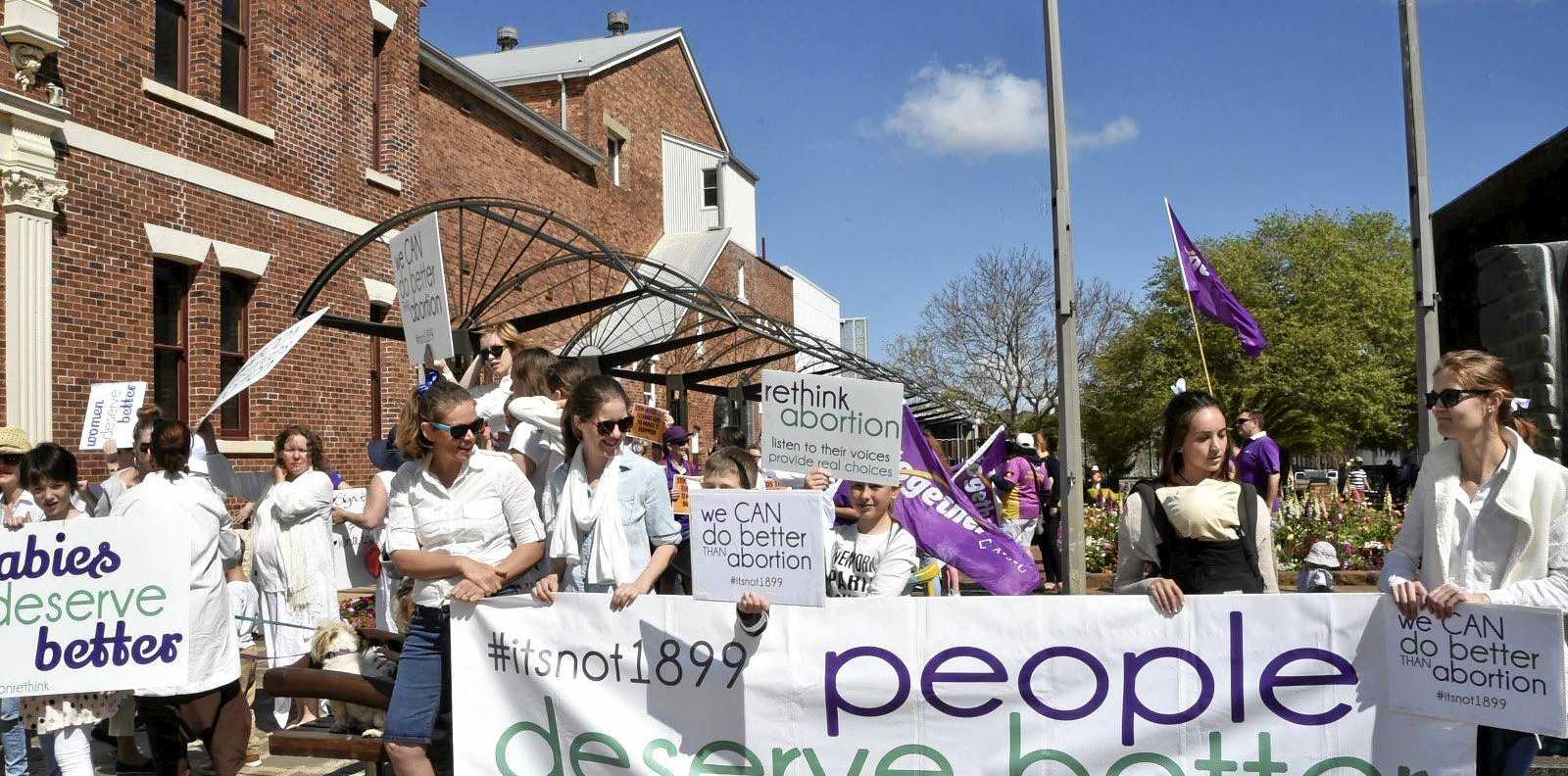 Anti abortion protestors outside Toowoomba city hall.