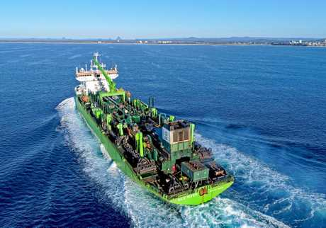 Massive dredge ship, the Nile River, has completed the last dump of sand to be used as fill in the Sunshine Coast Airport expansion project.