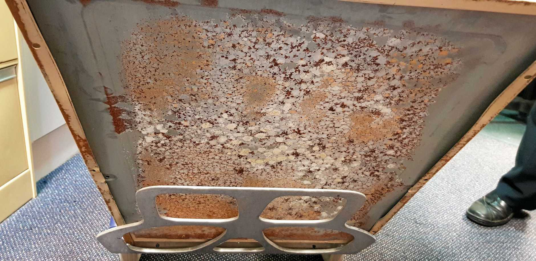 Mould discovered growing under cabinet in reception office when the cabinet was moved last week.