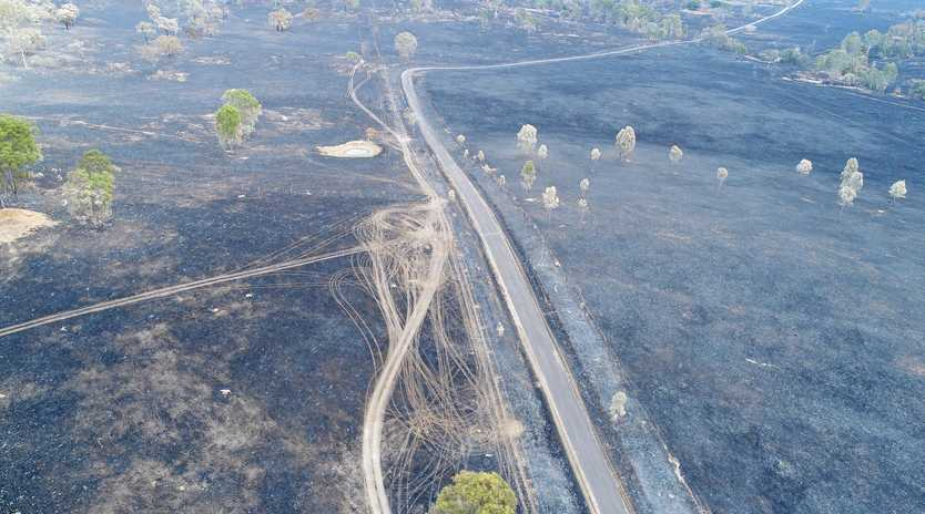 AFTERMATH: Aerial footage from above shows the true devastation of the Woolooga fire that ripped through the district late last week.