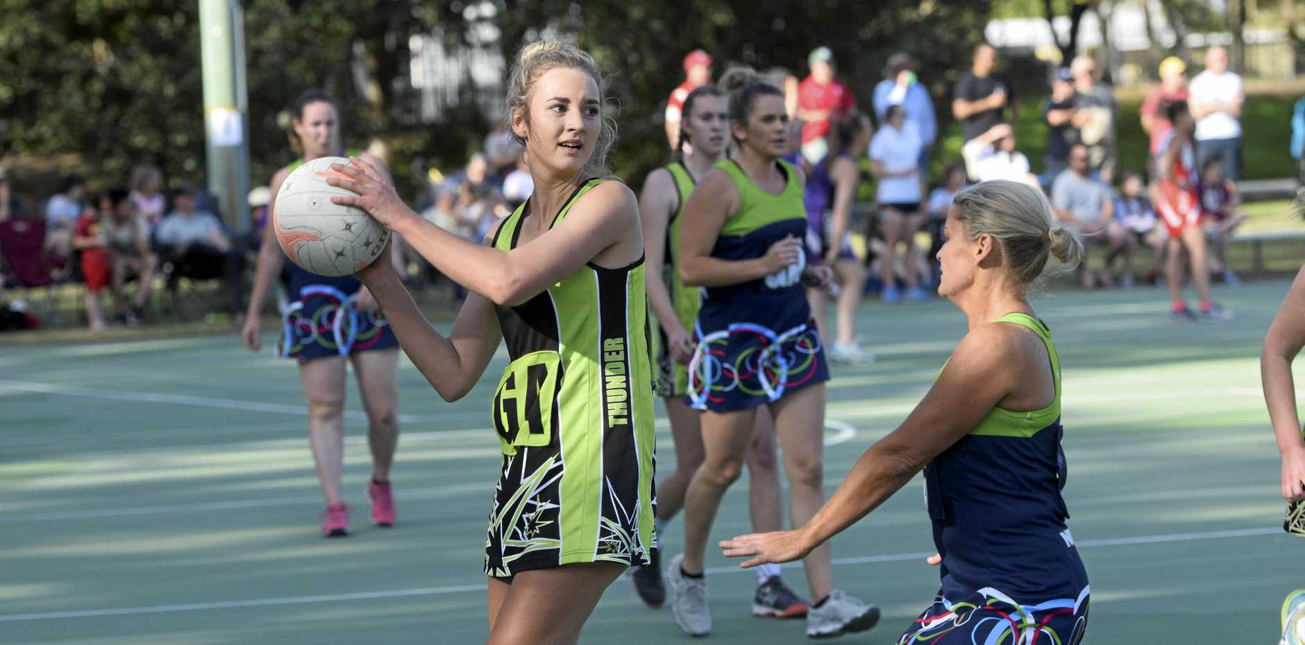 City Thunder's Charlotte Sommer receives the ball at the top of the circle during the Grafton Netball Association A Grade grand final between Northside NYX and City Thunder.
