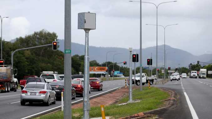 A red light/speed camera installed opposite Mt Sheridan Plaza on the Bruce Highway at the intersection of Coombs St. Picture: Stewart Mclean